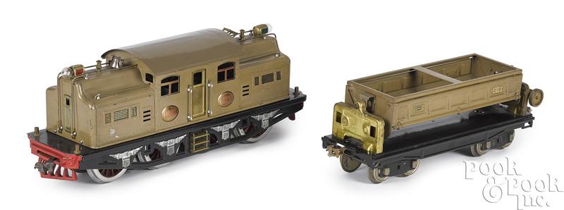 Lionel train locomotive and dump car