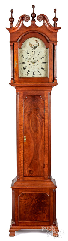 New Jersey Chippendale walnut tall case clock