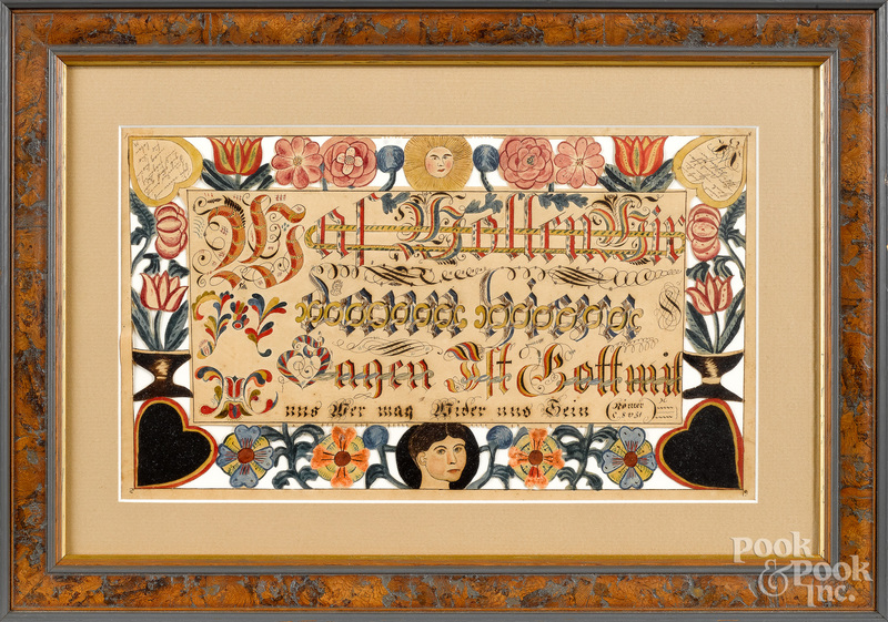 Pennsylvania watercolor fraktur scherenschnitte