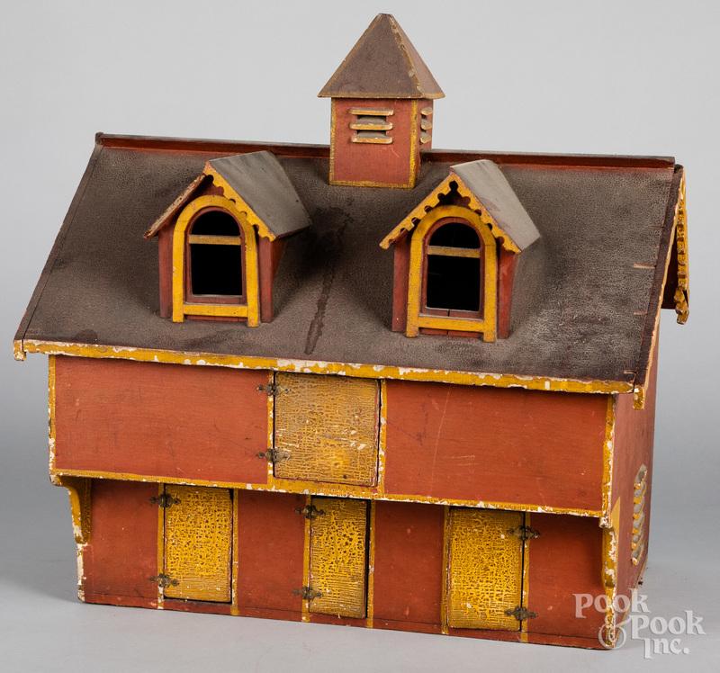 Folk art painted pine barn