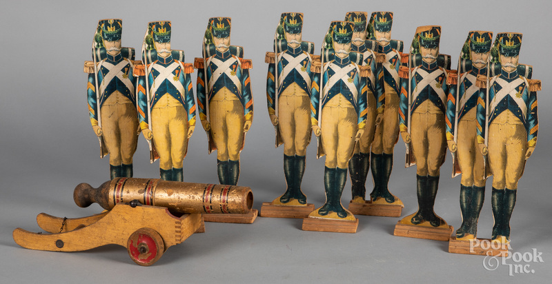 Paper litho soldiers and cannon
