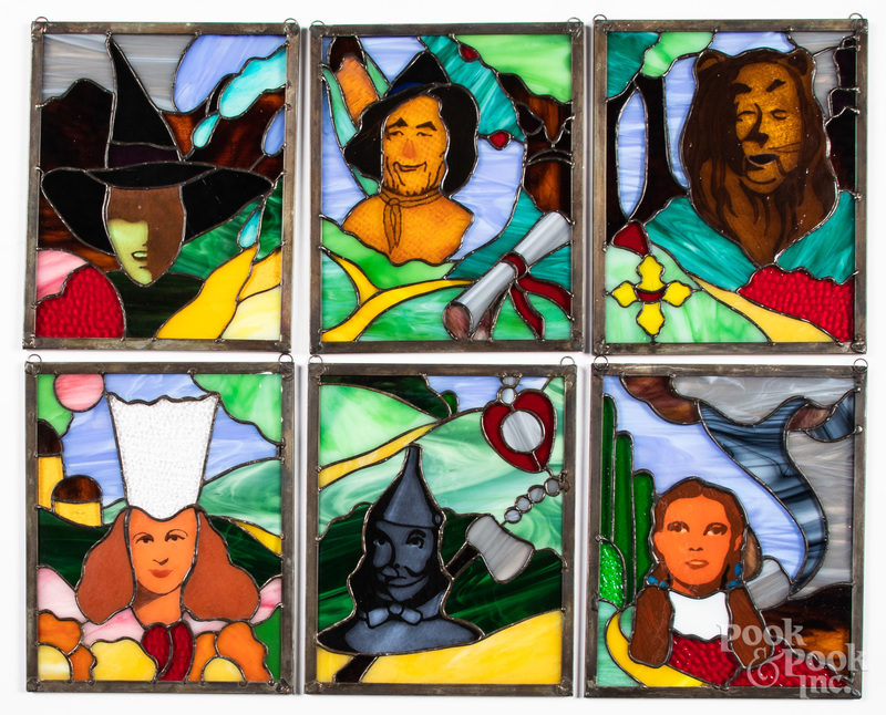 Six Wizard of Oz stained glass panels