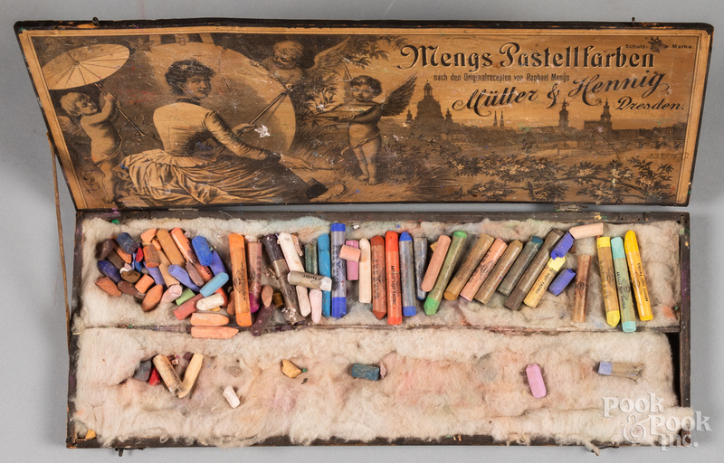 Artists' pastels in wooden box