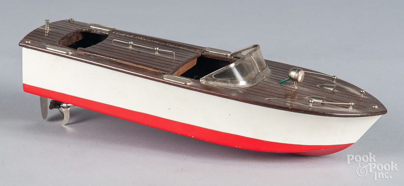 Japanese tin battery operated power boat