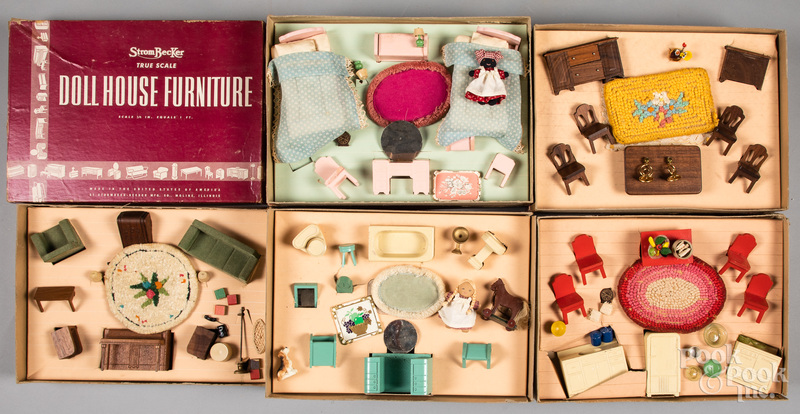 Five boxed sets of Strombecker dollhouse furniture