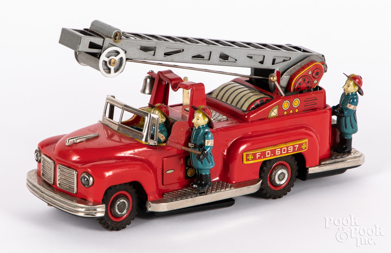 Japanese TN tin lithograph fire ladder truck