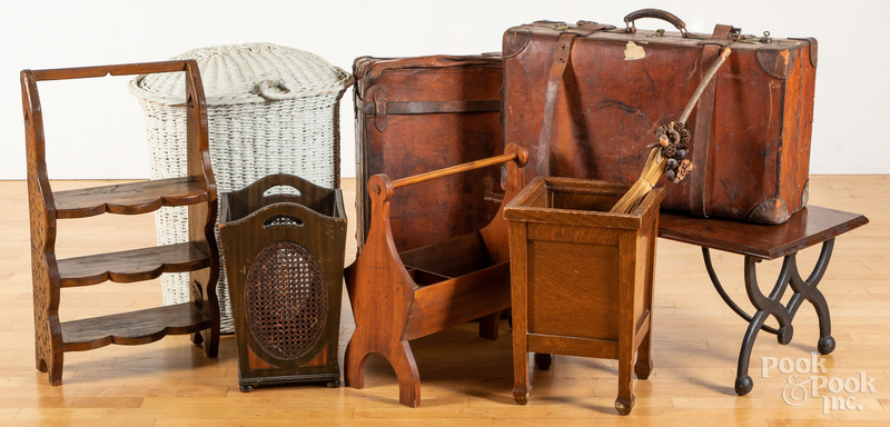 Assorted group of two early suitcases, etc.