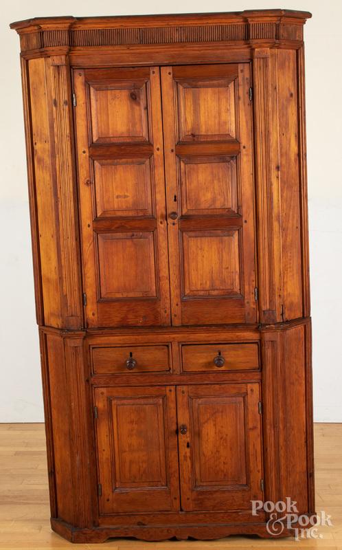 Pine two-part corner cupboard