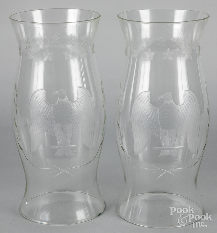 Pair of contemporary glass hurricane shades