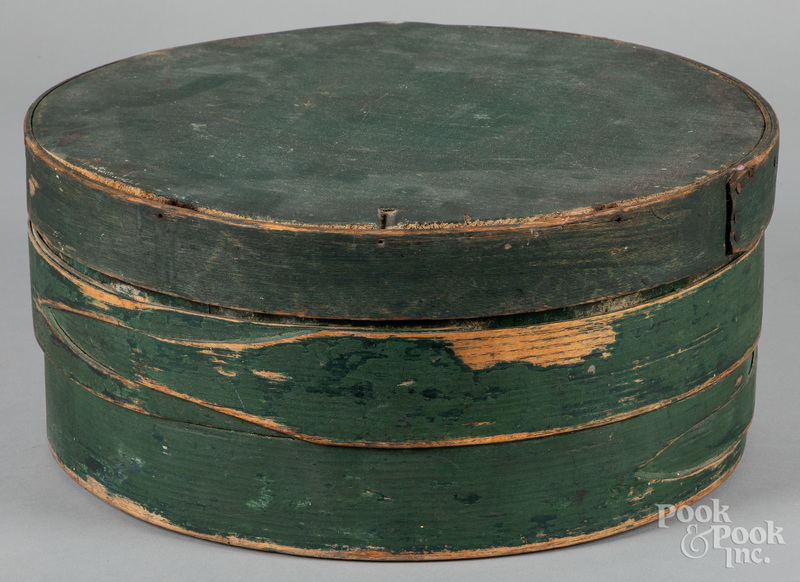 Large green painted bentwood box