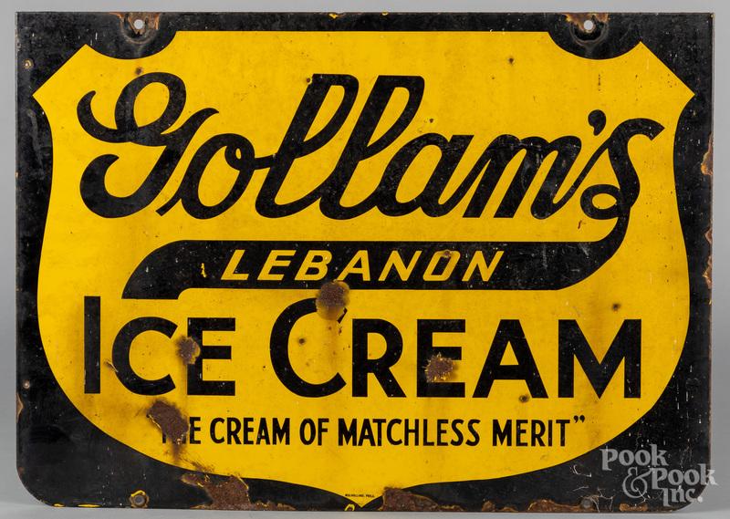 Enamel trade sign for Gollam's Ice Cream