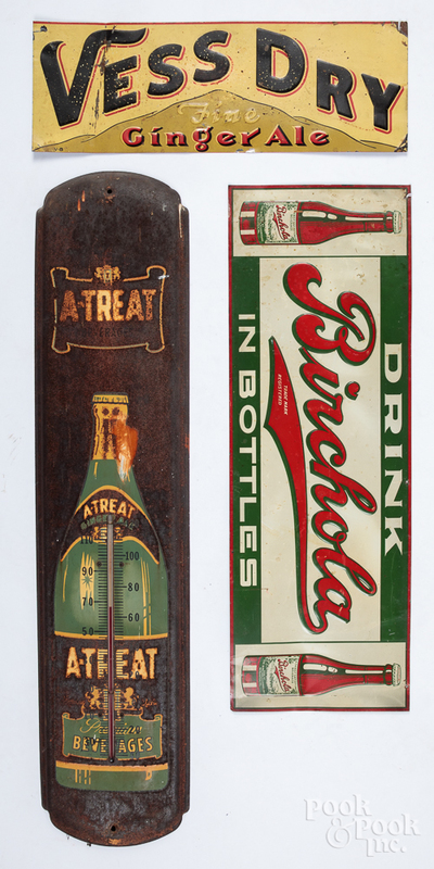 Two soda advertising signs, etc.