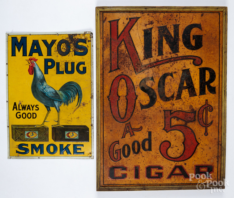 Two tin advertising signs for King Oscar Cigars