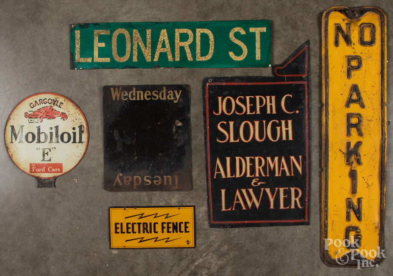 Six assorted tin signs