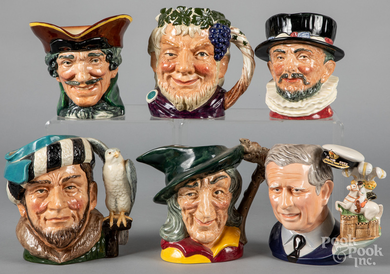 Six Royal Doulton toby mugs.