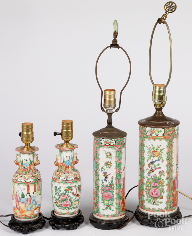 Four Chinese export rose medallion table lamps