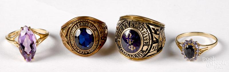 Four 10K gold gemstone rings