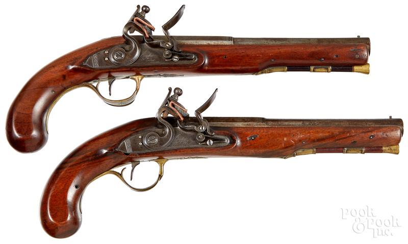 Pair of British flintlock pistols
