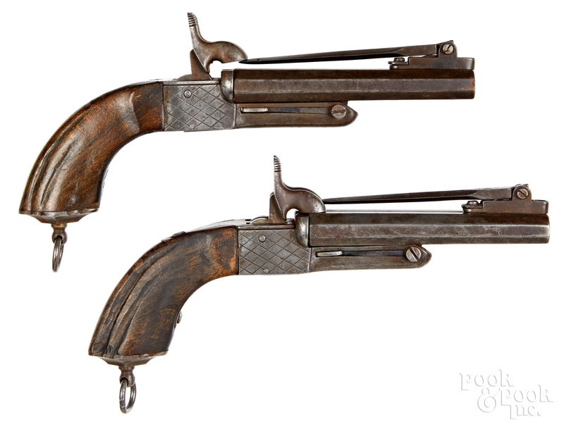 Pair of European double barrel pinfire pistols
