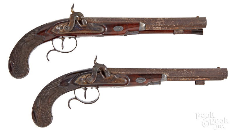 Cased pair of British percussion dueling pistols