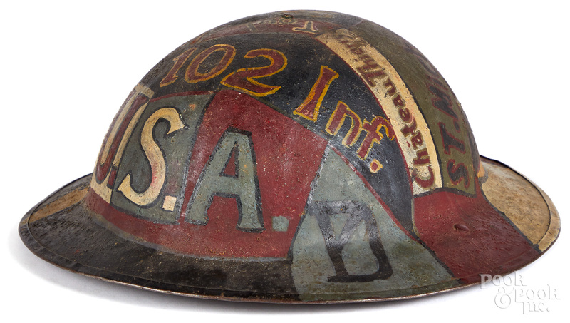 WWI painted doughboy Brodie helmet