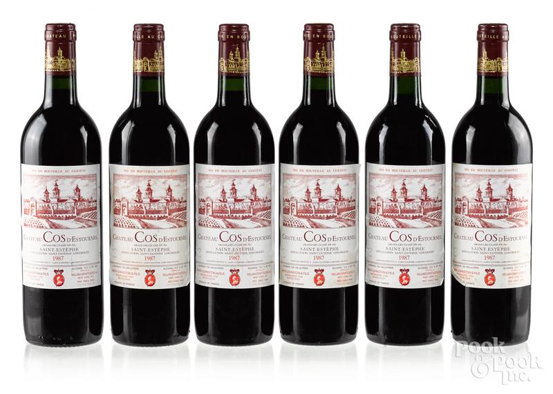 Six bottles of 1987 Chateau Cos D'Estournel