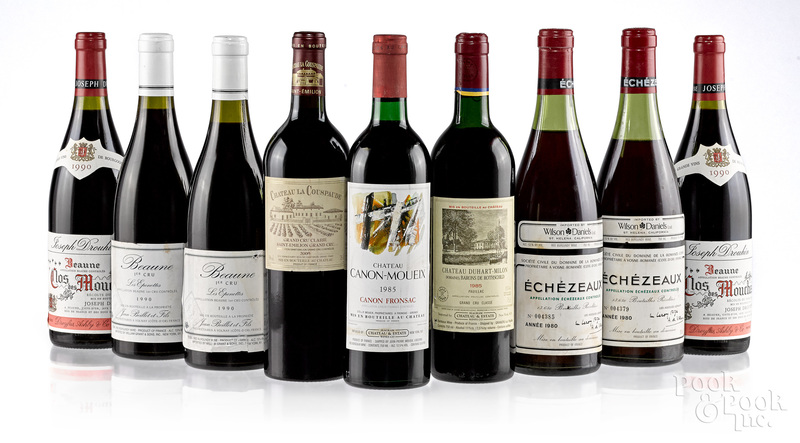 Nine bottles of French red wine