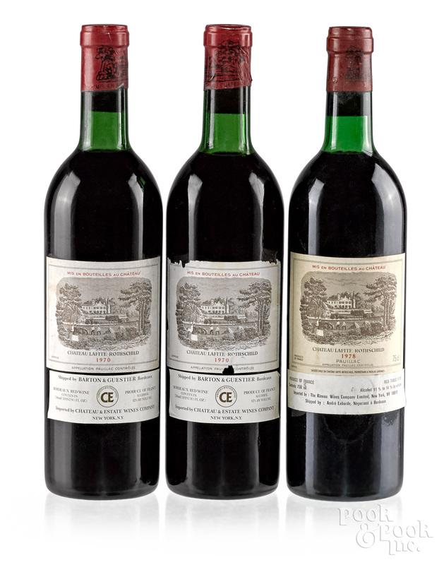 Three bottles of Chateau Lafite Rothschild