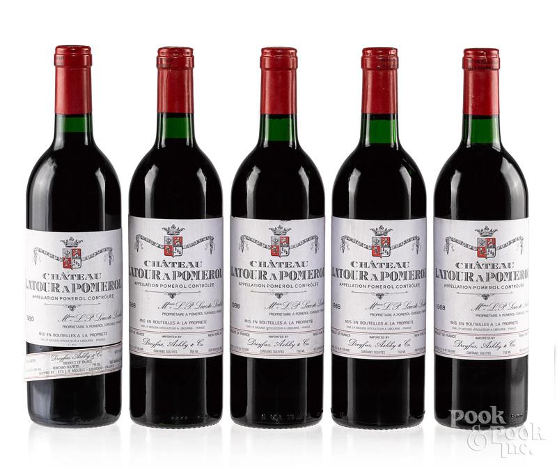 Five bottles of Chateau Latour A Pomeral