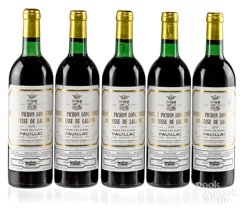 Five bottles of 1979 Chateau Pichon Longueville