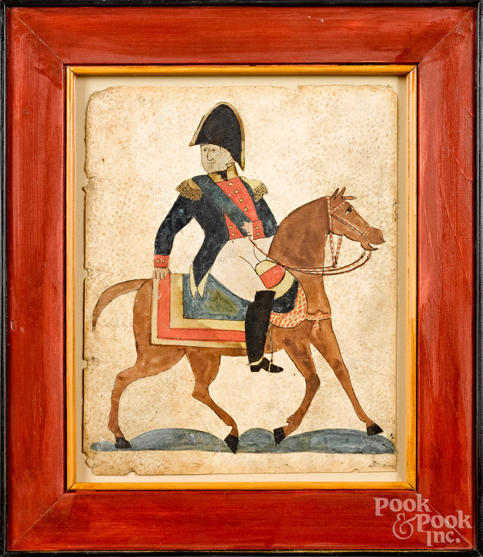 Watercolor cutout of an officer on horseback