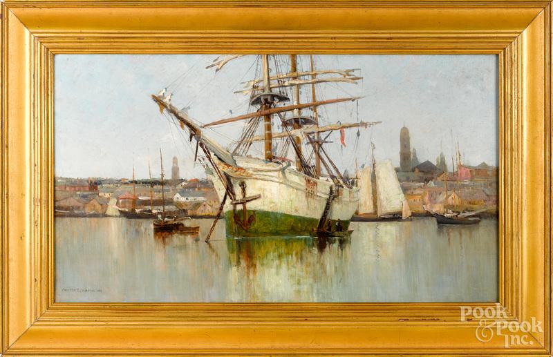 Carlton Chapman (American 1860-1925) harbor scene