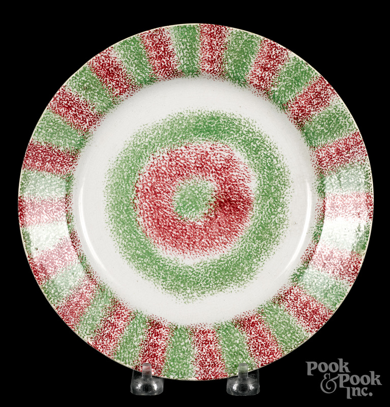Green and red rainbow spatter bullseye plate