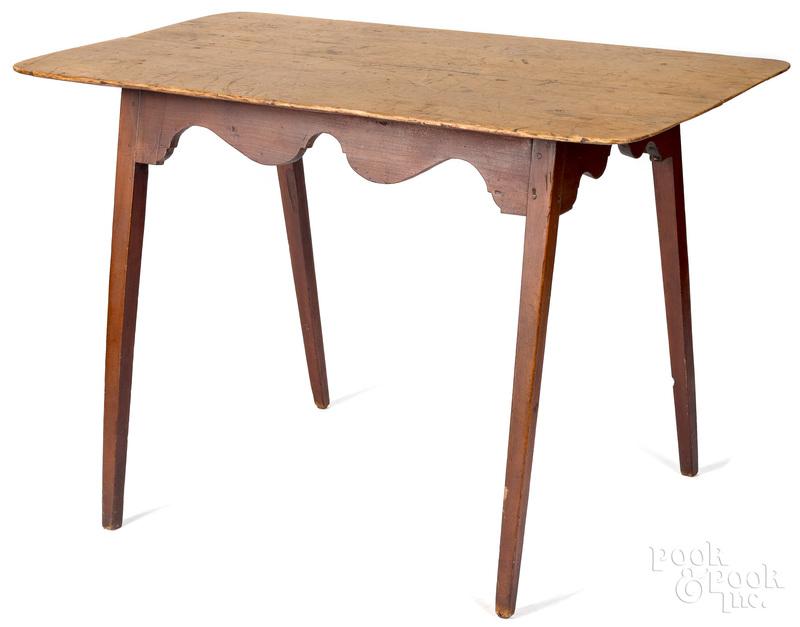 New England pine and maple splay leg work table