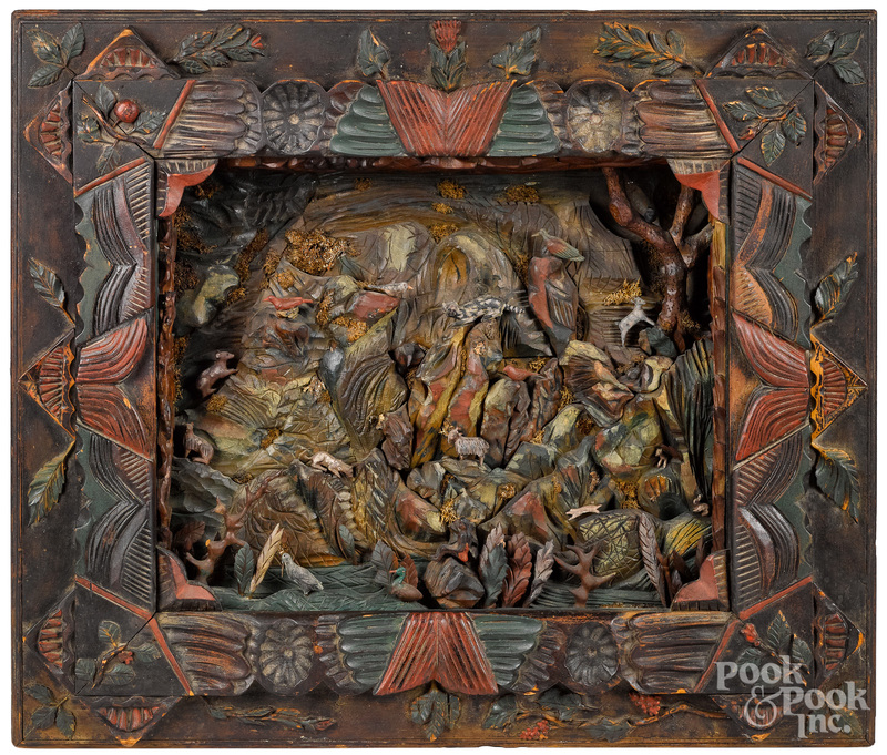 Carved and painted diorama