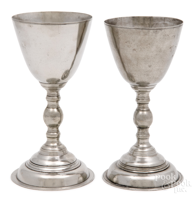 Pair of Albany, New York pewter chalices