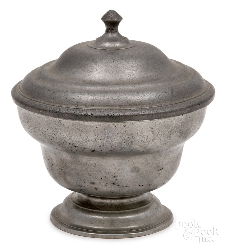 Philadelphia pewter sugar bowl and cover