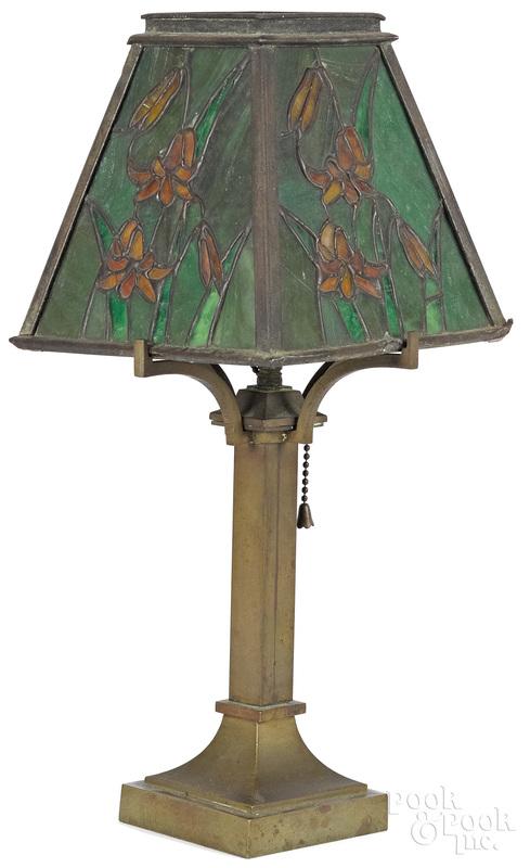 Arts and Crafts bronze desk lamp