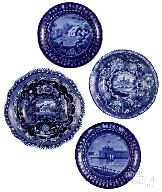 Four Staffordshire historical blue toddy and cup plates