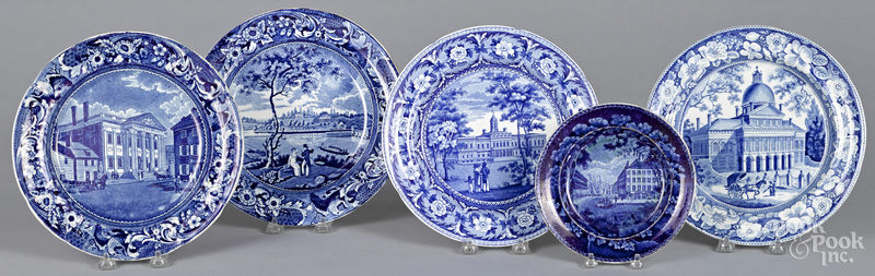 Five Staffordshire historical blue plates