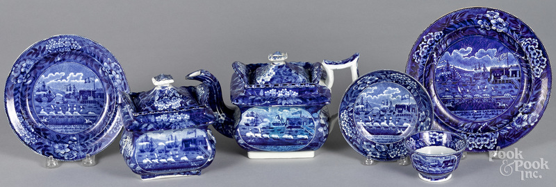 Six pieces of Staffordshire historical blue Landing of Lafayette