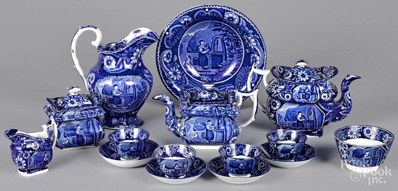 Fifteen pieces of Staffordshire historical blue Rebecca at the Well