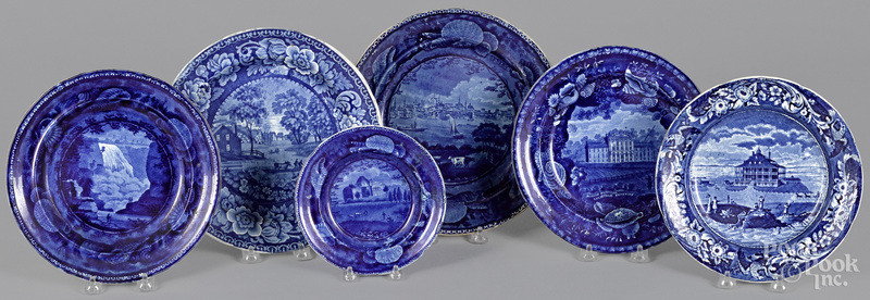 Six Staffordshire historical blue plates