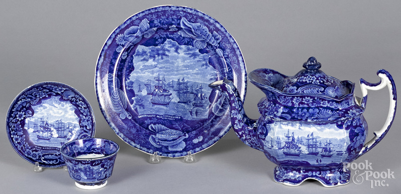 Four pieces of Staffordshire historical blue Commodore Macdonough's Victory