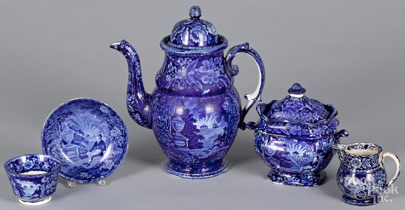 Five pieces of Staffordshire historical blue Lafayette at Franklin's Tomb