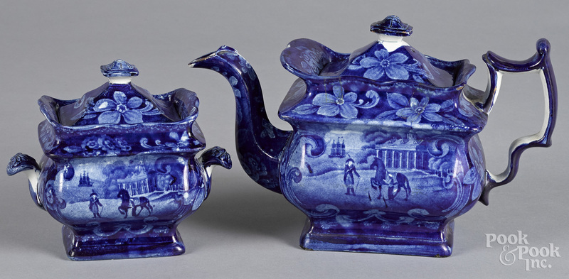 Two pieces of Staffordshire historical blue Mount Vernon porcelain