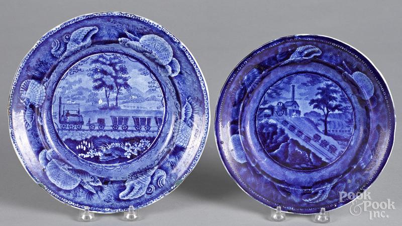 Two Staffordshire historical blue B & O Railroad plates