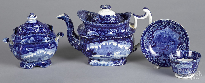 Four pieces of Staffordshire historical blue Wadsworth Tower porcelain