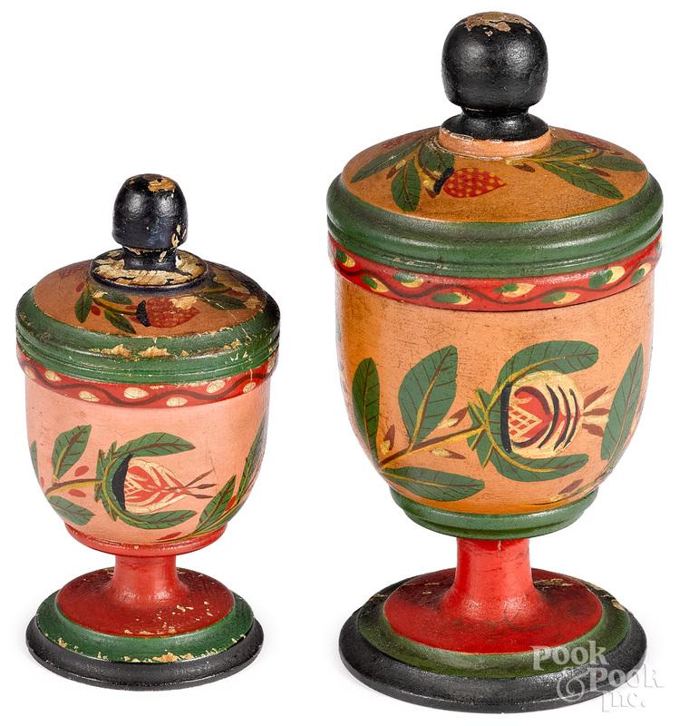 Two Joseph Lehn (Lancaster 1798-1892) saffron cups