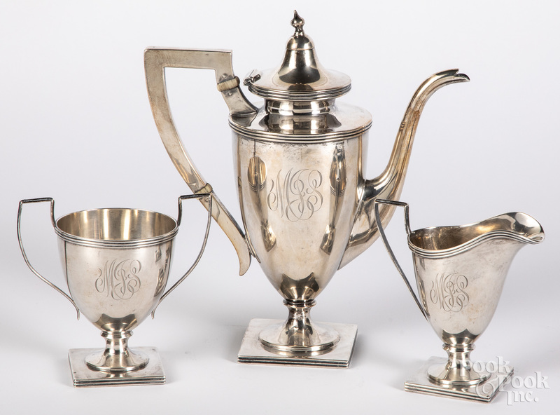 Three-piece sterling silver tea service